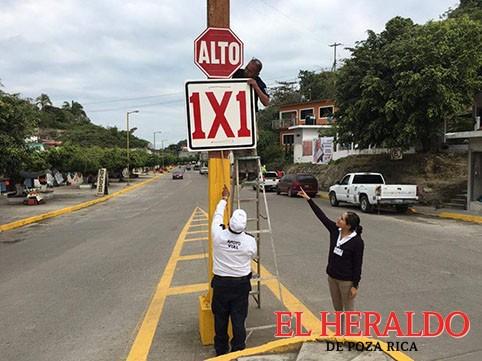 Continúa señalización en Gutiérrez Zamora